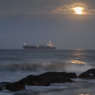 Tanker in the moonlight off Tybee